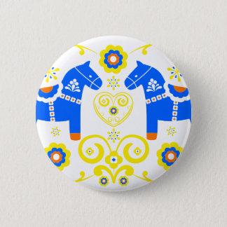 Blue Dala Horses Pinback Button