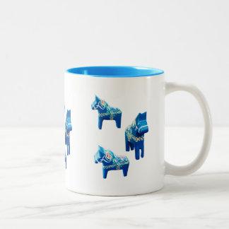 Blue Dala Horses Two-Tone Coffee Mug