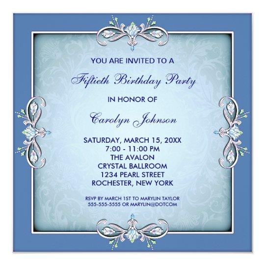 Blue Damask 50th Birthday Party Invitation