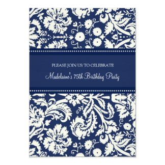Blue Damask 75th Birthday Party Invitations