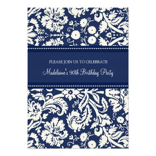 Blue Damask 90th Birthday Party Invitations