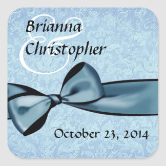 Blue Damask and Faux Satin Bow Wedding Square Sticker