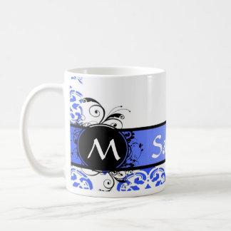 Blue damask and monogram coffee mug