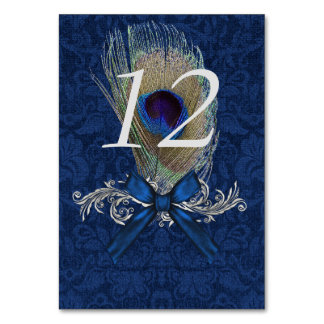Blue Damask and Peacock Feather Table Number Card