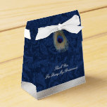"""Blue Damask and Peacock Feather Wedding Gift Box<br><div class=""""desc"""">Elegant wedding party gift box done in a blue on blue damask pattern, with graphics of a silver tone band, across the bottom and a peacock feather, on the flap. Personalize the light gray text to suit your wedding needs. Perfect finishing touch to any little gift you give your wedding...</div>"""
