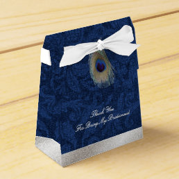 Blue Damask and Peacock Feather Wedding Gift Box