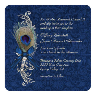 Blue Damask and Peacock Feather Wedding Invitation