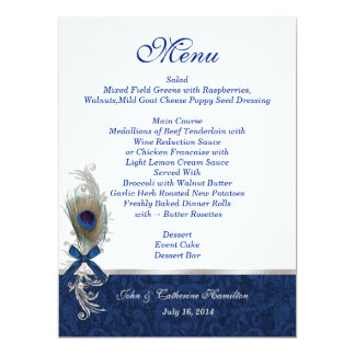Blue Damask and Peacock Feather Wedding Table Menu 6.5x8.75 Paper Invitation Card