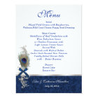 Blue Damask and Peacock Feather Wedding Table Menu Card