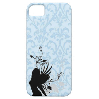 Blue damask angel silhouette girl iphone case