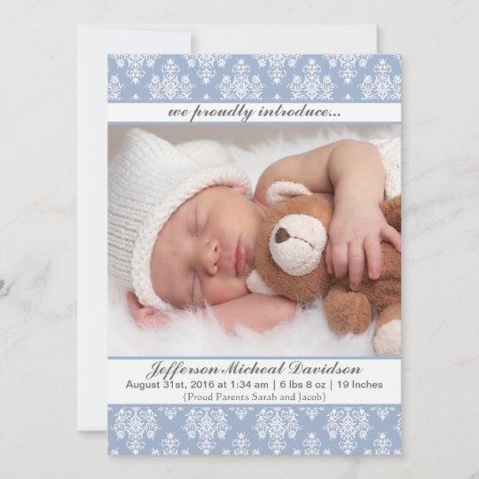 Baby Boy Photo Birth or Adoption Announcement; Blue with Black Damask; Monogram