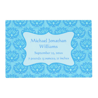 Blue Damask Baby Boy Name Personalized Placemat