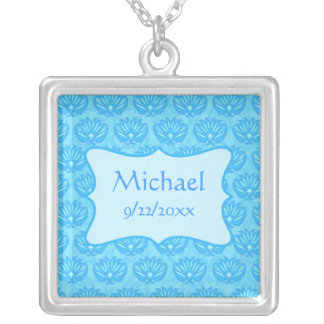Blue Damask Baby Boy Name Personalized Square Pendant Necklace
