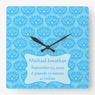 Blue Damask Baby Boy Name Personalized Square Wall Clock
