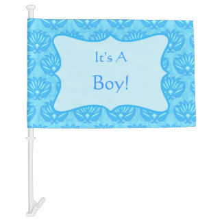 Blue Damask Baby Its a Boy Announcement Car Flag
