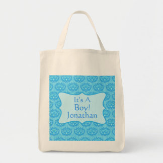 Blue Damask Baby Its A Boy Birth Announcement Tote Bag