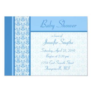 "Blue Damask Baby Shower Invitation 5"" X 7"" Invitation Card"