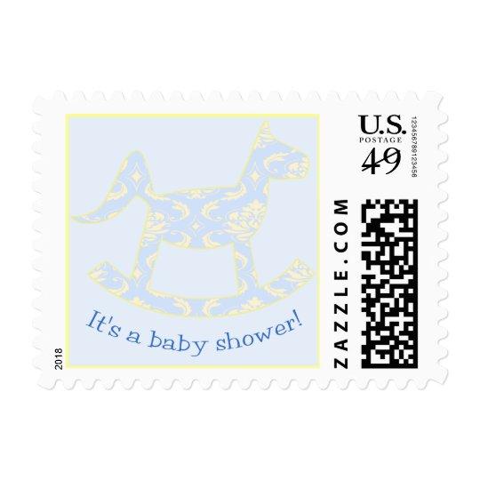Blue Damask Baby Shower Postage