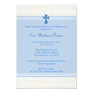 Blue Damask Baptism/Christening Invitation