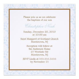 Blue Damask Baptism Invitations