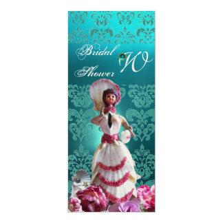 BLUE DAMASK BEACH WEDDING - BRIDAL SHOWER MONOGRAM CARD