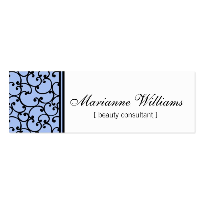 Blue Damask Beauty Micro Mini Business Cards