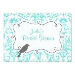 Blue Damask & Bird Bridal Shower Invitation Card
