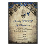 Blue Damask Birdcage Vintage Wedding RSVP Custom Invitations