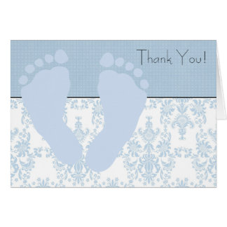 Blue Damask Blue Baby Feet Baby Thank You Cards