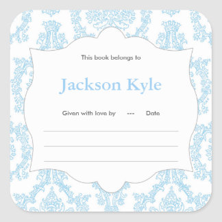 Blue Damask Book baby shower Bookplate label Square Sticker