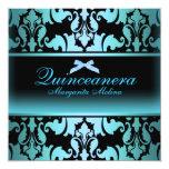 Blue Damask & Bow Elegant Quinceanera Invitation