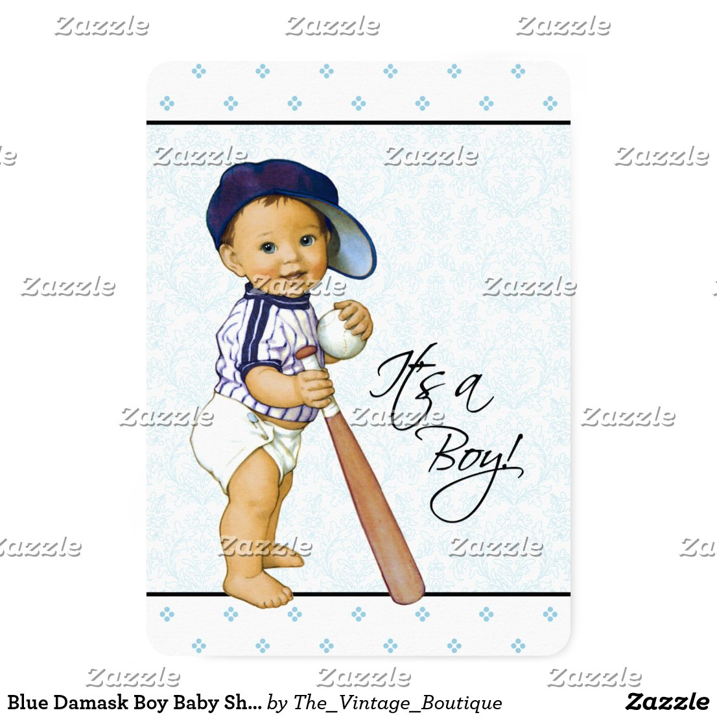 Blue Damask Boy Baby Shower Card
