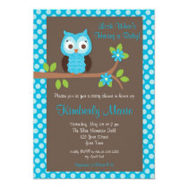 Blue Damask Boy Owl Baby Shower Invitation