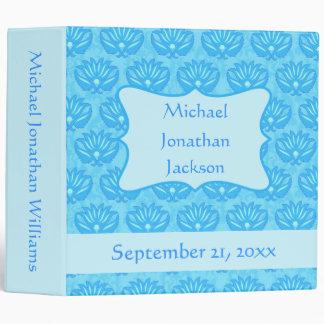 Blue Damask Boy Personalized Baby Book Photo Album Binder