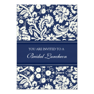Blue Damask Bridal Luncheon Invitation Cards