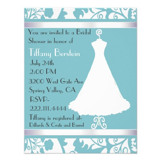Blue Damask Bridal Shower Invitation from Zazzle.com