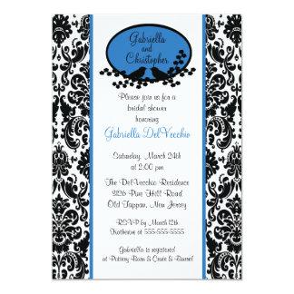 Blue Damask Bridal Shower Invitation