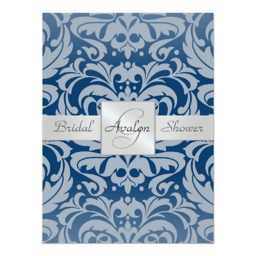 Blue Damask Bridal Shower Monogram Invitation