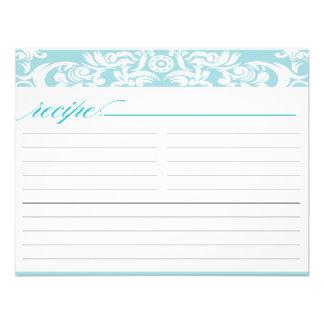 Blue Damask Bridal Shower Recipe Card Custom Invites