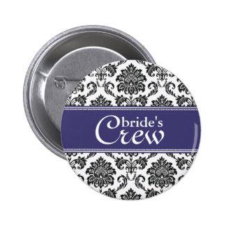 Blue Damask Bride's Crew Button