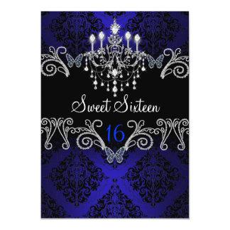 Blue Damask & Butterfly Sweet Sixteen Invite