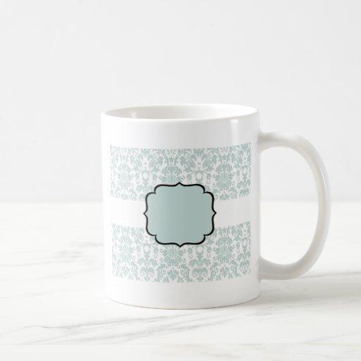 Blue  Damask Card Coffee Mugs