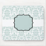 Blue  Damask Card Mouse Pad