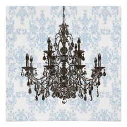 Blue Damask Chandelier Wall Art Print ...