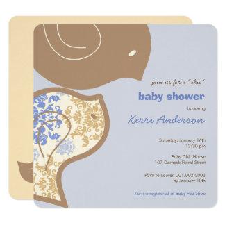 Blue Damask Chicks Baby Shower Party Invitation