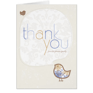 Blue Damask Chicks Birth Announcement Thank You Stationery Note Card
