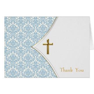 Blue Damask Christening Thank You Card