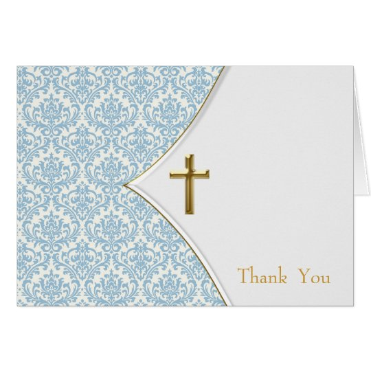 Blue damask christening thank you card zazzlecom for Baptism thank you card template