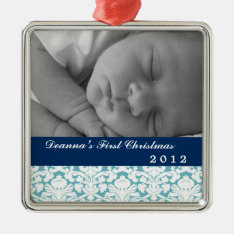 Blue damask classic navy band baby's first holiday metal ornament at Zazzle