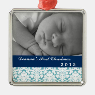 Blue damask classic navy band baby's first holiday metal ornament